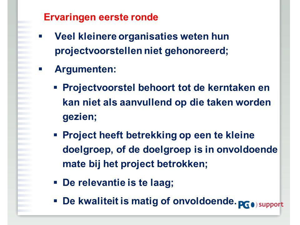 Ervaringen eerste ronde  Veel kleinere organisaties weten hun projectvoorstellen niet gehonoreerd;  Argumenten:  Projectvoorstel behoort tot de ker