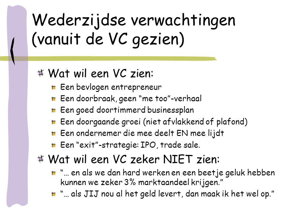 """Wederzijdse verwachtingen (vanuit de VC gezien) Wat wil een VC zien: Een bevlogen entrepreneur Een doorbraak, geen """"me too""""-verhaal Een goed doortimme"""