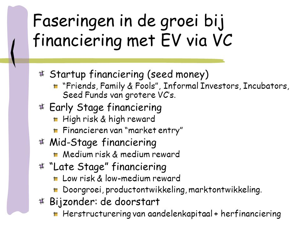 "Faseringen in de groei bij financiering met EV via VC Startup financiering (seed money) ""Friends, Family & Fools"", Informal Investors, Incubators, See"