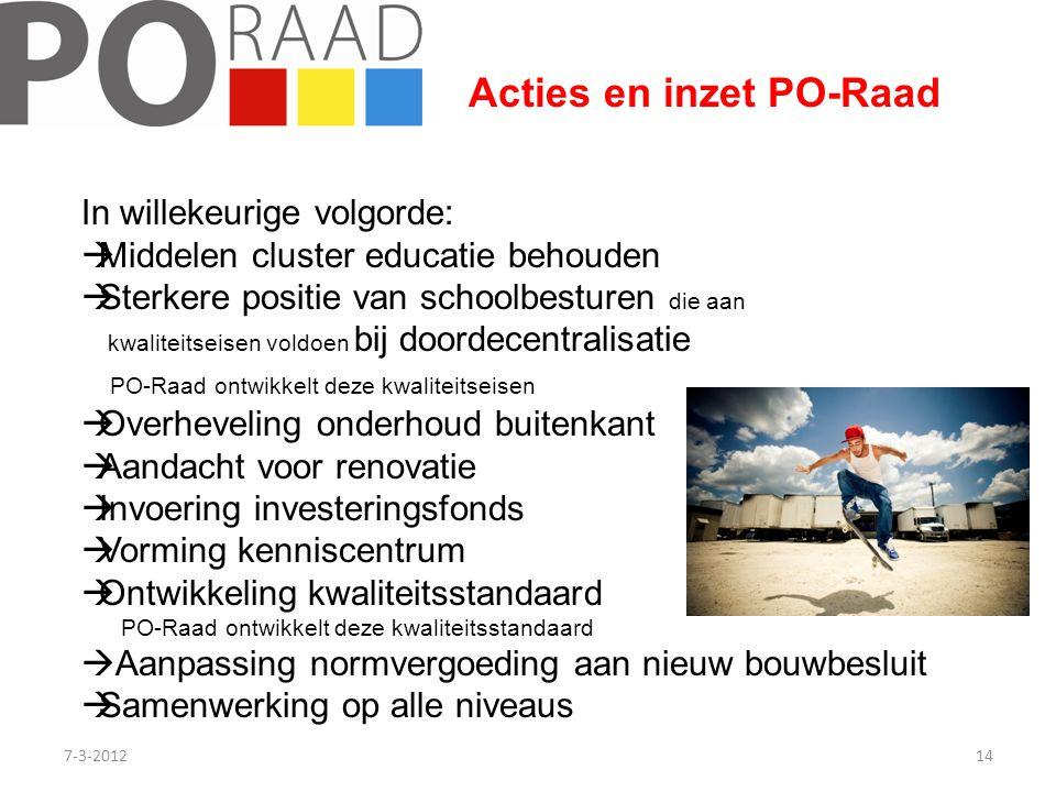 7-3-201214 Acties en inzet PO-Raad In willekeurige volgorde:  Middelen cluster educatie behouden  Sterkere positie van schoolbesturen die aan kwalit