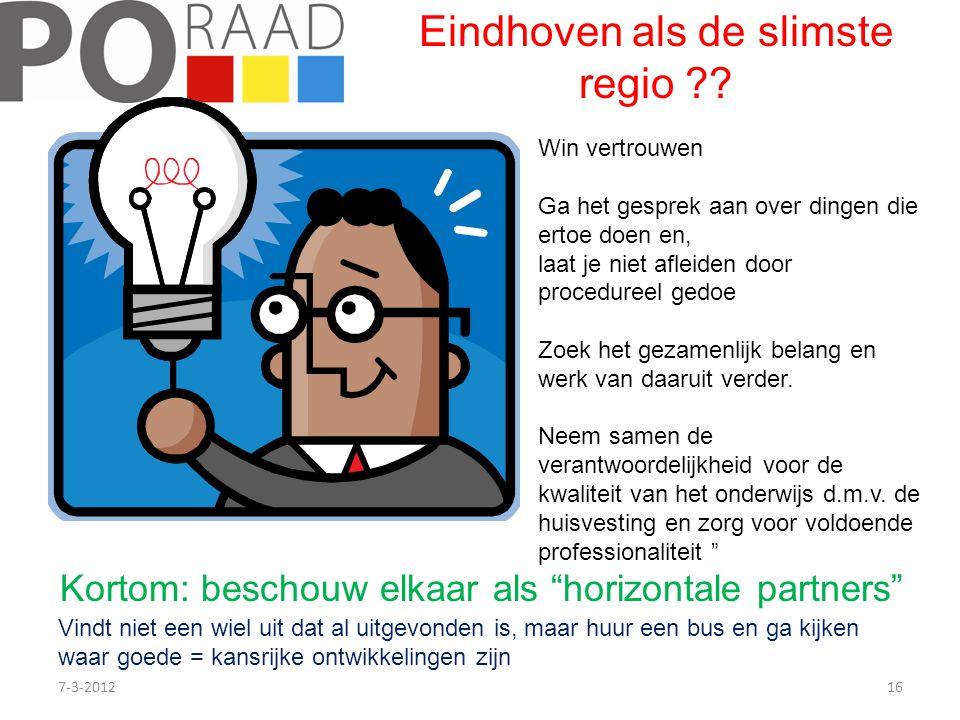 7-3-201216 Eindhoven als de slimste regio ?? Win vertrouwen Ga het gesprek aan over dingen die ertoe doen en, laat je niet afleiden door procedureel g