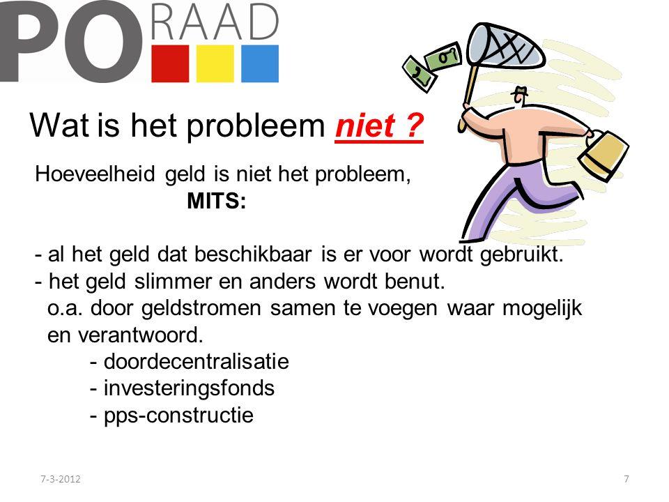 7-3-20127 Wat is het probleem niet ? Hoeveelheid geld is niet het probleem, MITS: - al het geld dat beschikbaar is er voor wordt gebruikt. - het geld