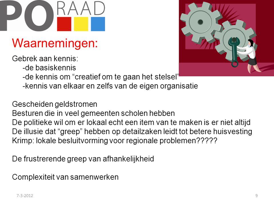 """7-3-20129 Gebrek aan kennis: -de basiskennis -de kennis om """"creatief om te gaan het stelsel"""" -kennis van elkaar en zelfs van de eigen organisatie Gesc"""