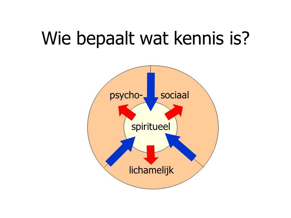 Wie bepaalt wat kennis is? spiritueel lichamelijk sociaalpsycho-