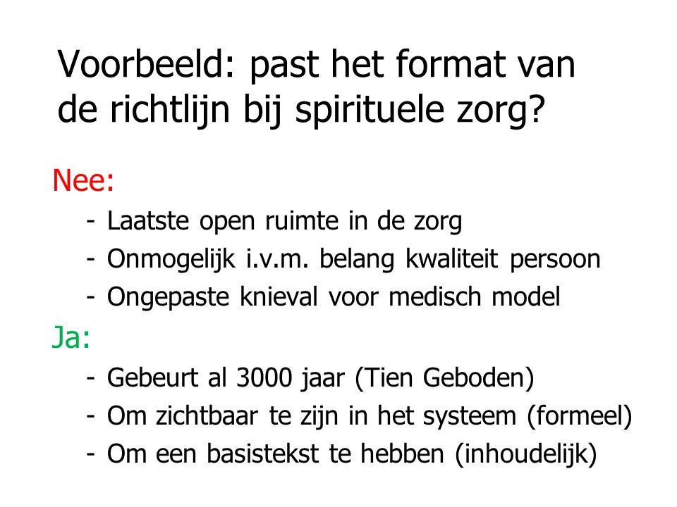 Voorbeeld: past het format van de richtlijn bij spirituele zorg.