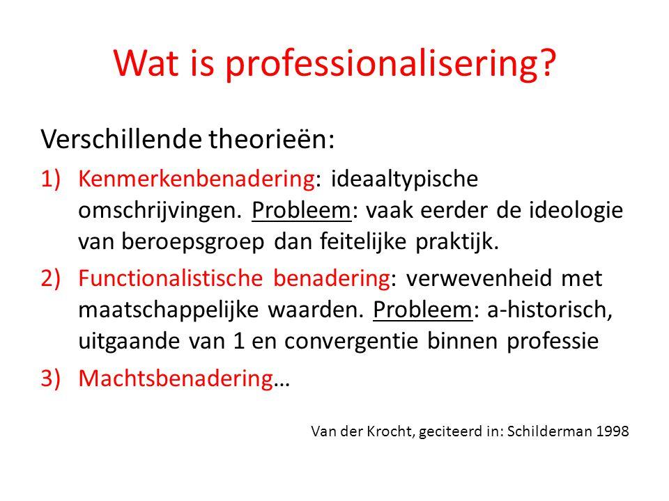 Wat is professionalisering? Verschillende theorieën: 1)Kenmerkenbenadering: ideaaltypische omschrijvingen. Probleem: vaak eerder de ideologie van bero