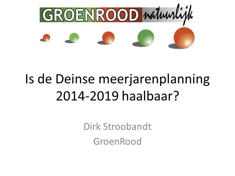 Is de Deinse meerjarenplanning 2014-2019 haalbaar? Dirk Stroobandt GroenRood