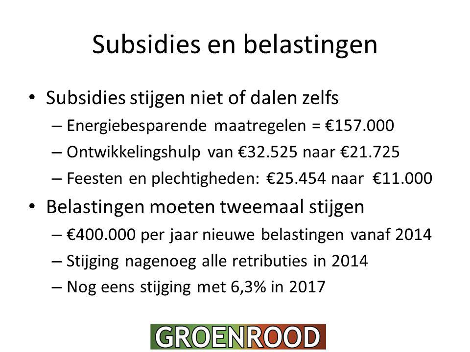 Subsidies en belastingen Subsidies stijgen niet of dalen zelfs – Energiebesparende maatregelen = €157.000 – Ontwikkelingshulp van €32.525 naar €21.725 – Feesten en plechtigheden: €25.454 naar €11.000 Belastingen moeten tweemaal stijgen – €400.000 per jaar nieuwe belastingen vanaf 2014 – Stijging nagenoeg alle retributies in 2014 – Nog eens stijging met 6,3% in 2017