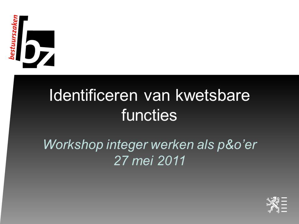 Identificeren van kwetsbare functies Workshop integer werken als p&o'er 27 mei 2011