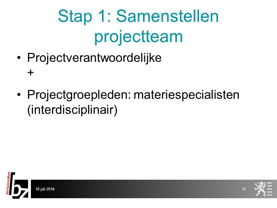 Stap 1: Samenstellen projectteam Projectverantwoordelijke + Projectgroepleden: materiespecialisten (interdisciplinair) 16 juli 201411