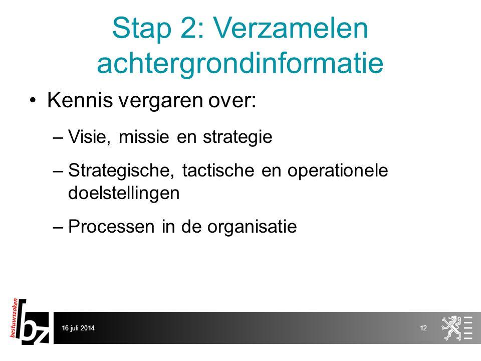 Stap 2: Verzamelen achtergrondinformatie Kennis vergaren over: –Visie, missie en strategie –Strategische, tactische en operationele doelstellingen –Pr