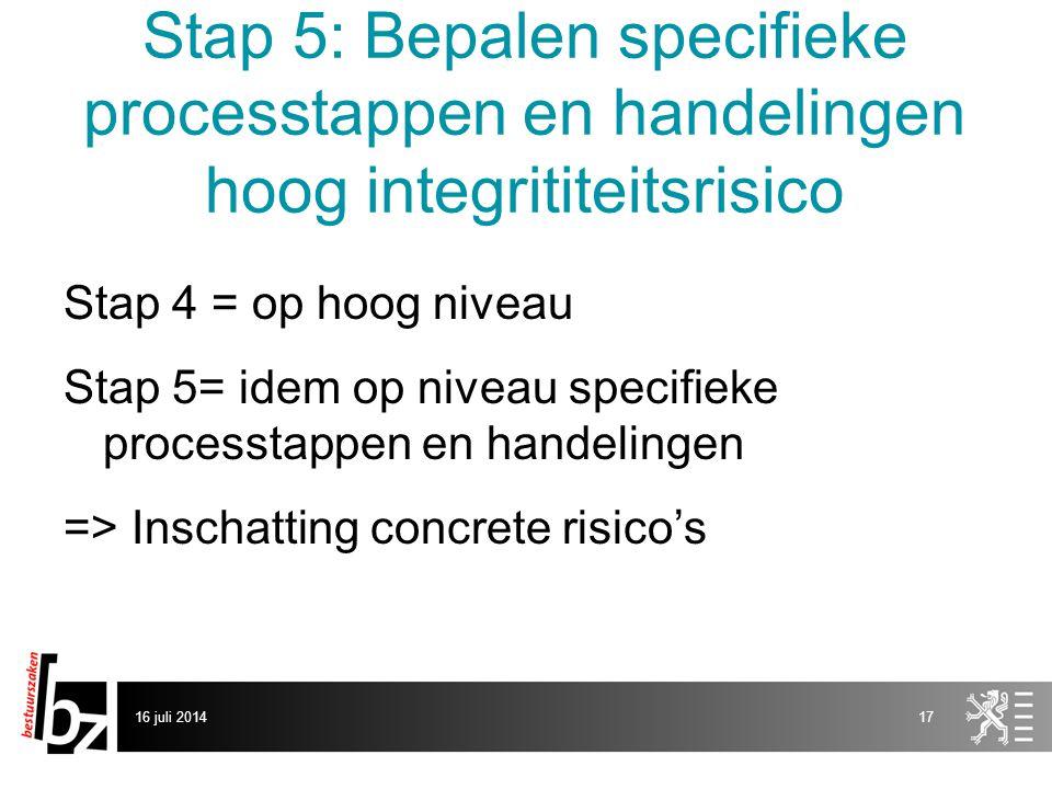 Stap 5: Bepalen specifieke processtappen en handelingen hoog integrititeitsrisico Stap 4 = op hoog niveau Stap 5= idem op niveau specifieke processtap