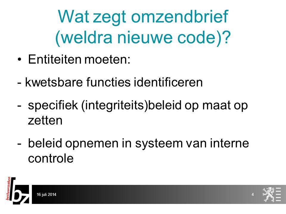 Wat zegt omzendbrief (weldra nieuwe code)? Entiteiten moeten: - kwetsbare functies identificeren -specifiek (integriteits)beleid op maat op zetten -be