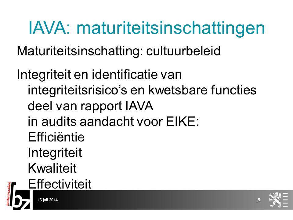 IAVA: maturiteitsinschattingen Maturiteitsinschatting: cultuurbeleid Integriteit en identificatie van integriteitsrisico's en kwetsbare functies deel