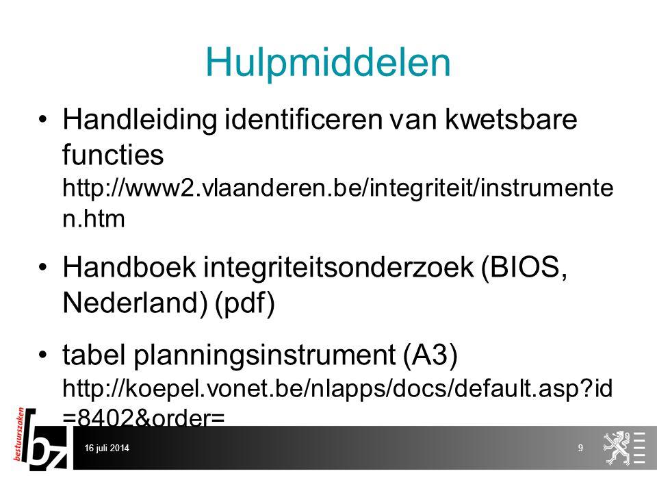 Hulpmiddelen Handleiding identificeren van kwetsbare functies http://www2.vlaanderen.be/integriteit/instrumente n.htm Handboek integriteitsonderzoek (