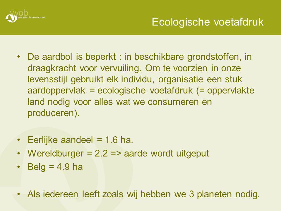 Ecologische voetafdruk De aardbol is beperkt : in beschikbare grondstoffen, in draagkracht voor vervuiling. Om te voorzien in onze levensstijl gebruik