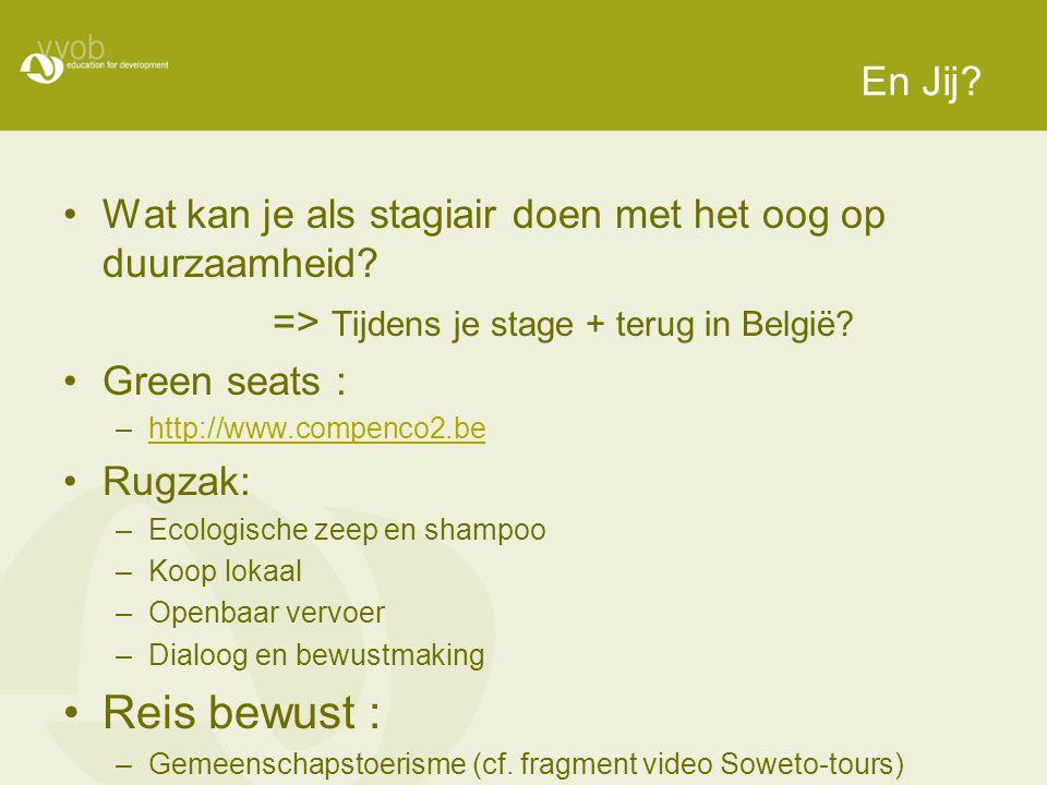 En Jij? Wat kan je als stagiair doen met het oog op duurzaamheid? => Tijdens je stage + terug in België? Green seats : –http://www.compenco2.behttp://