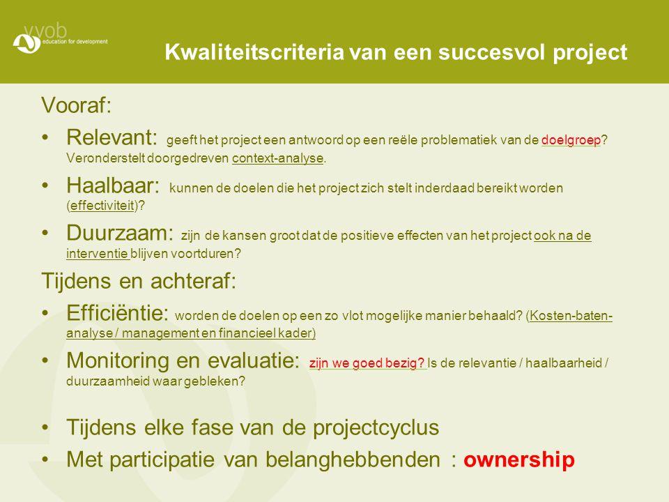 Kwaliteitscriteria van een succesvol project Vooraf: Relevant: geeft het project een antwoord op een reële problematiek van de doelgroep? Veronderstel