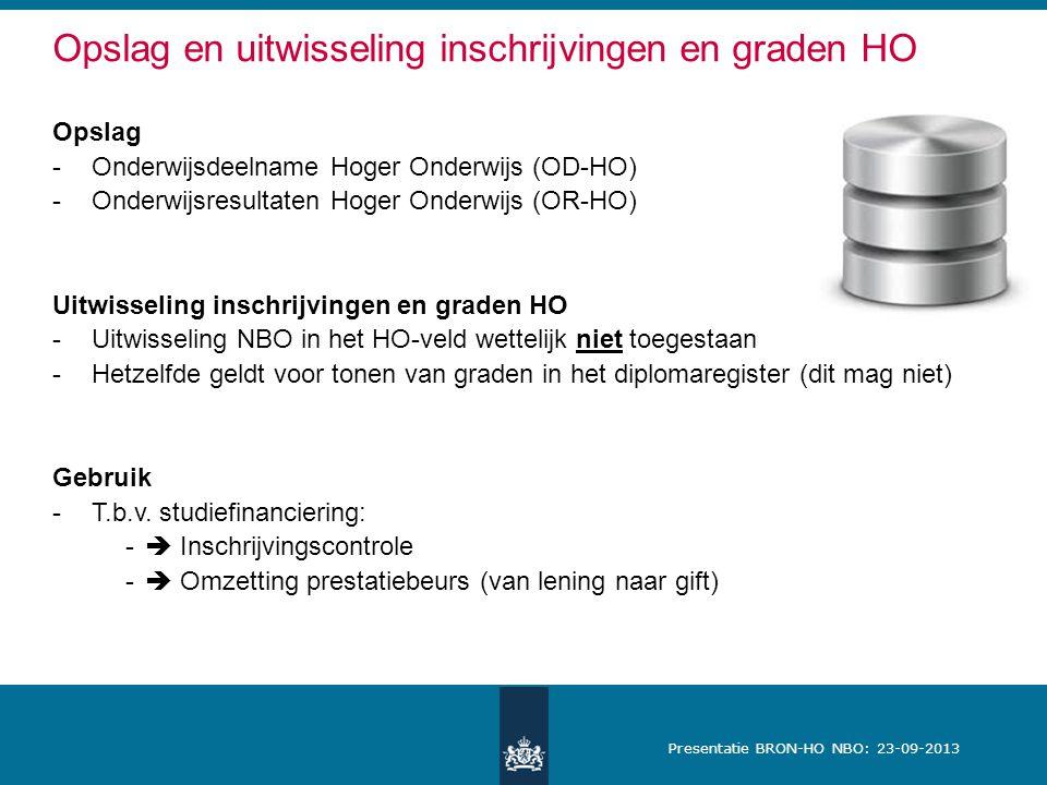 Presentatie BRON-HO NBO: 23-09-2013 Opslag en uitwisseling inschrijvingen en graden HO Opslag -Onderwijsdeelname Hoger Onderwijs (OD-HO) -Onderwijsresultaten Hoger Onderwijs (OR-HO) Uitwisseling inschrijvingen en graden HO -Uitwisseling NBO in het HO-veld wettelijk niet toegestaan -Hetzelfde geldt voor tonen van graden in het diplomaregister (dit mag niet) Gebruik -T.b.v.