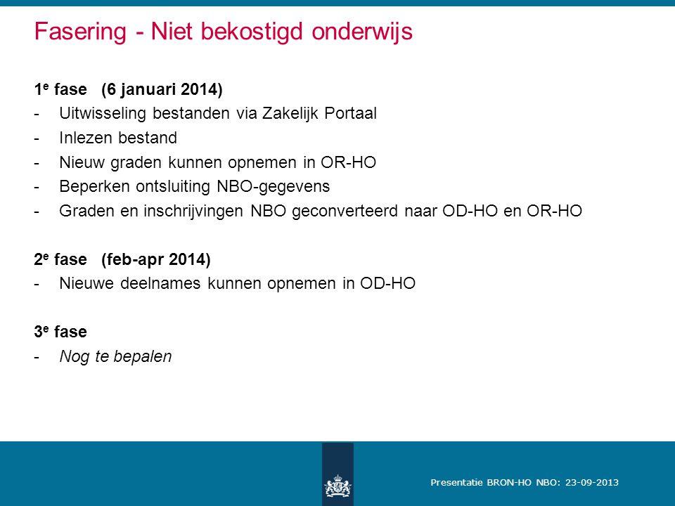 Presentatie BRON-HO NBO: 23-09-2013 Fasering - Niet bekostigd onderwijs 1 e fase (6 januari 2014) -Uitwisseling bestanden via Zakelijk Portaal -Inlezen bestand -Nieuw graden kunnen opnemen in OR-HO -Beperken ontsluiting NBO-gegevens -Graden en inschrijvingen NBO geconverteerd naar OD-HO en OR-HO 2 e fase(feb-apr 2014) -Nieuwe deelnames kunnen opnemen in OD-HO 3 e fase -Nog te bepalen