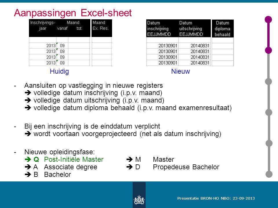 Presentatie BRON-HO NBO: 23-09-2013 Aanpassingen Excel-sheet -Aansluiten op vastlegging in nieuwe registers  volledige datum inschrijving (i.p.v.