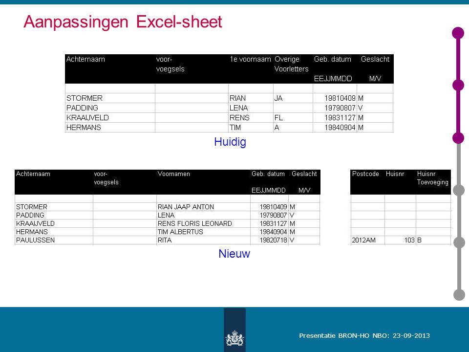 Presentatie BRON-HO NBO: 23-09-2013 Aanpassingen Excel-sheet Huidig Nieuw