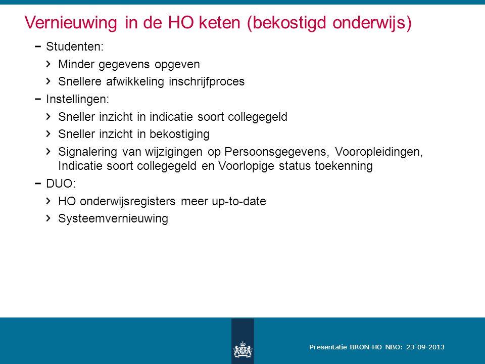 Presentatie BRON-HO NBO: 23-09-2013 Nieuwe versie Excel-bestand Huidige bestand