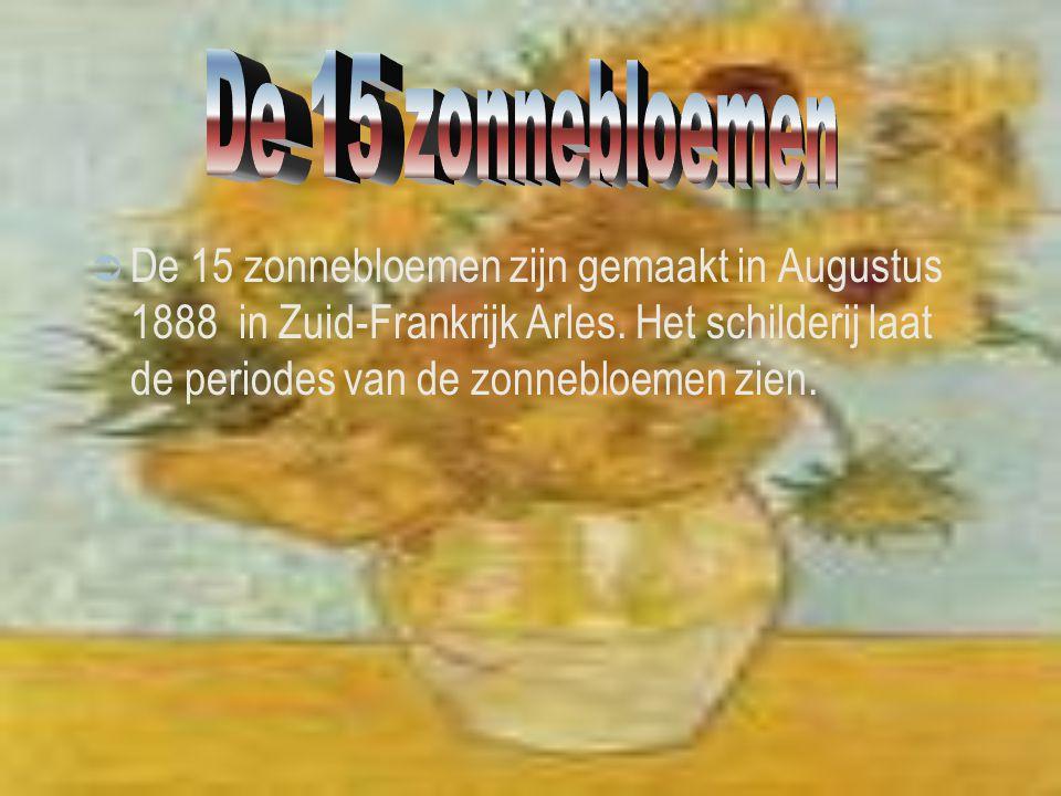 De 15 zonnebloemen zijn gemaakt in Augustus 1888 in Zuid-Frankrijk Arles. Het schilderij laat de periodes van de zonnebloemen zien.