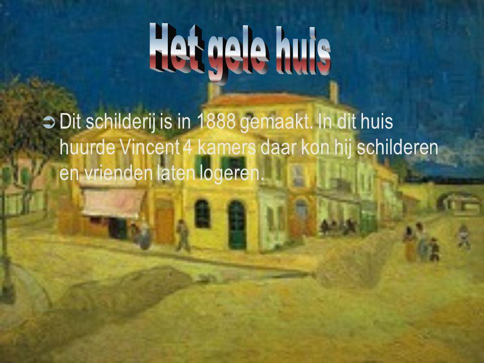  Dit schilderij is in 1888 gemaakt. In dit huis huurde Vincent 4 kamers daar kon hij schilderen en vrienden laten logeren.