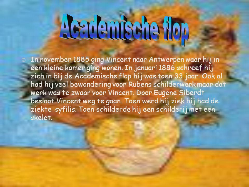  In november 1885 ging Vincent naar Antwerpen waar hij in een kleine kamer ging wonen. In januari 1886 schreef hij zich in bij de Academische flop hi
