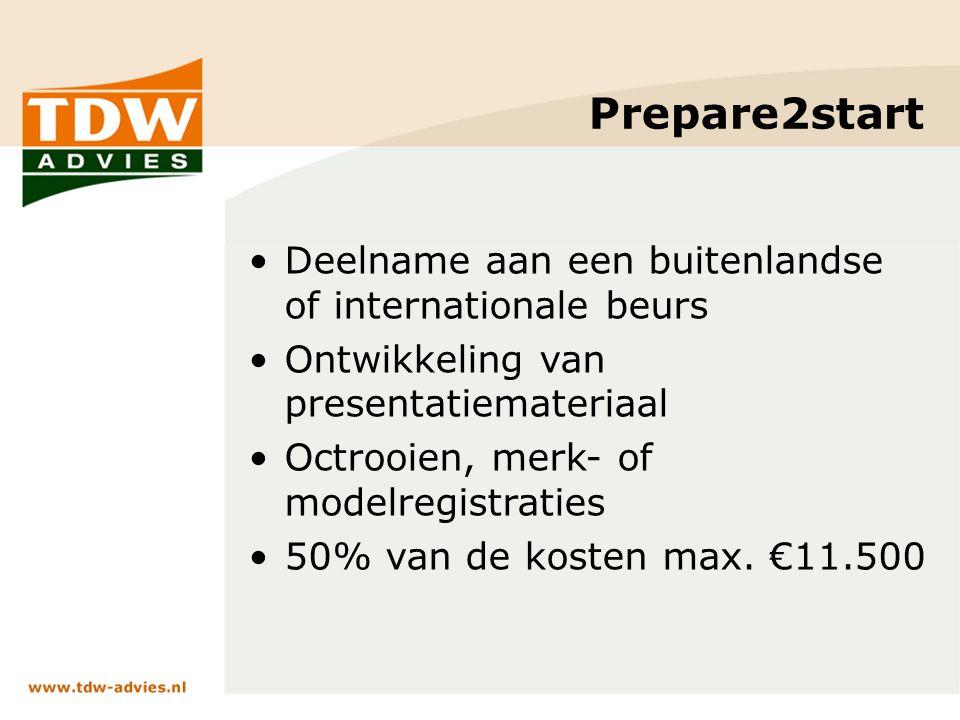 Prepare2start Deelname aan een buitenlandse of internationale beurs Ontwikkeling van presentatiemateriaal Octrooien, merk- of modelregistraties 50% van de kosten max.