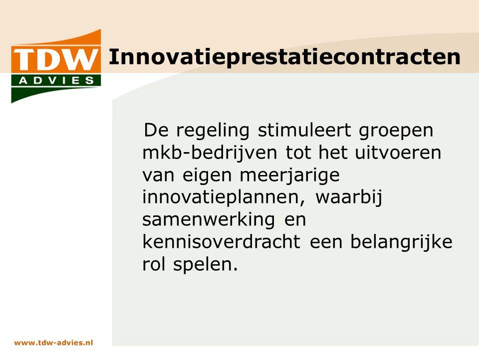 Innovatieprestatiecontracten De regeling stimuleert groepen mkb-bedrijven tot het uitvoeren van eigen meerjarige innovatieplannen, waarbij samenwerking en kennisoverdracht een belangrijke rol spelen.