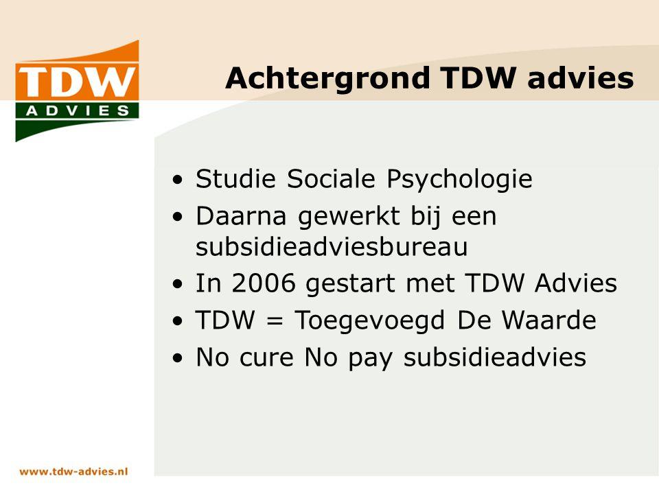 Achtergrond TDW advies Studie Sociale Psychologie Daarna gewerkt bij een subsidieadviesbureau In 2006 gestart met TDW Advies TDW = Toegevoegd De Waarde No cure No pay subsidieadvies