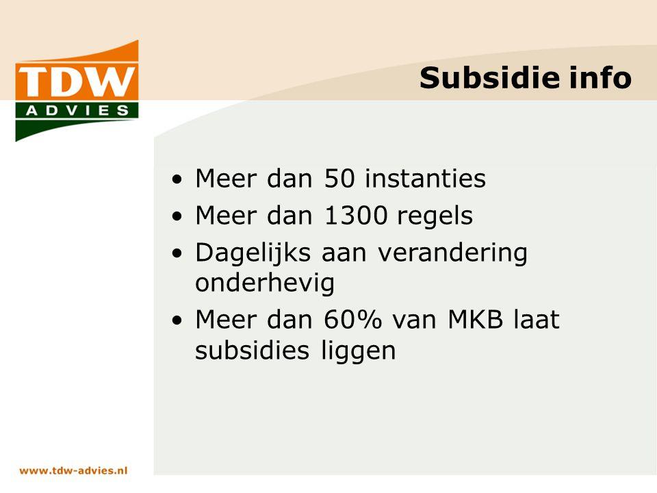 Subsidie info Meer dan 50 instanties Meer dan 1300 regels Dagelijks aan verandering onderhevig Meer dan 60% van MKB laat subsidies liggen