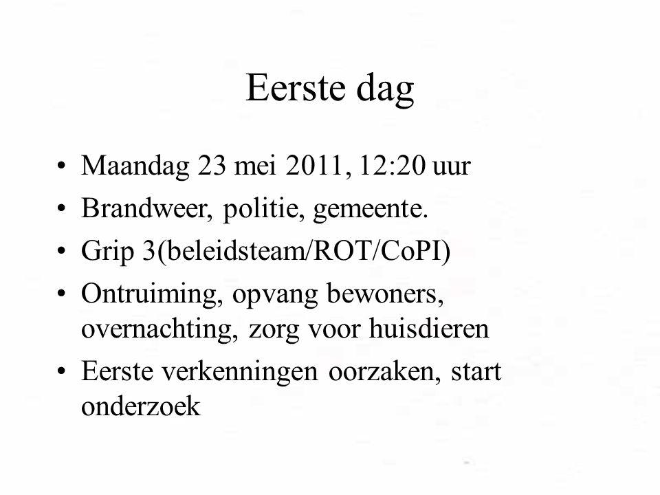 Eerste dag Maandag 23 mei 2011, 12:20 uur Brandweer, politie, gemeente.