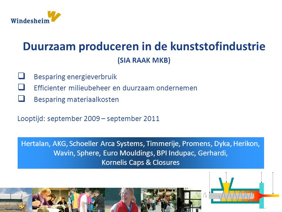  Besparing energieverbruik  Efficienter milieubeheer en duurzaam ondernemen  Besparing materiaalkosten Looptijd: september 2009 – september 2011 He