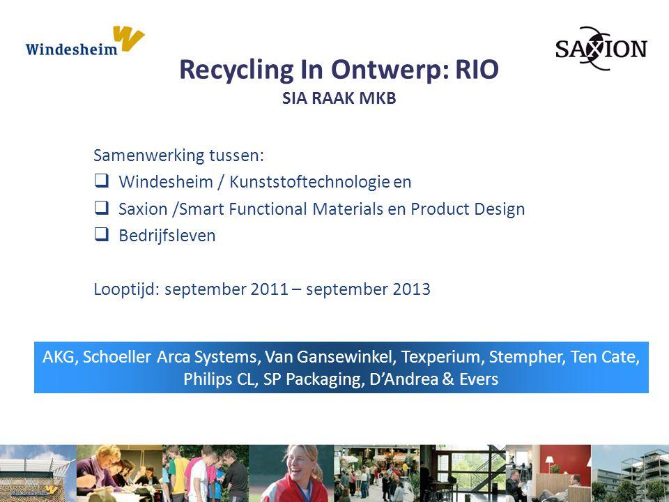 Recycling In Ontwerp: RIO SIA RAAK MKB Samenwerking tussen:  Windesheim / Kunststoftechnologie en  Saxion /Smart Functional Materials en Product Des