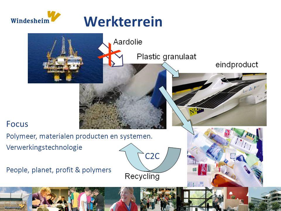 Werkterrein X Focus Polymeer, materialen producten en systemen. Verwerkingstechnologie People, planet, profit & polymers C2C