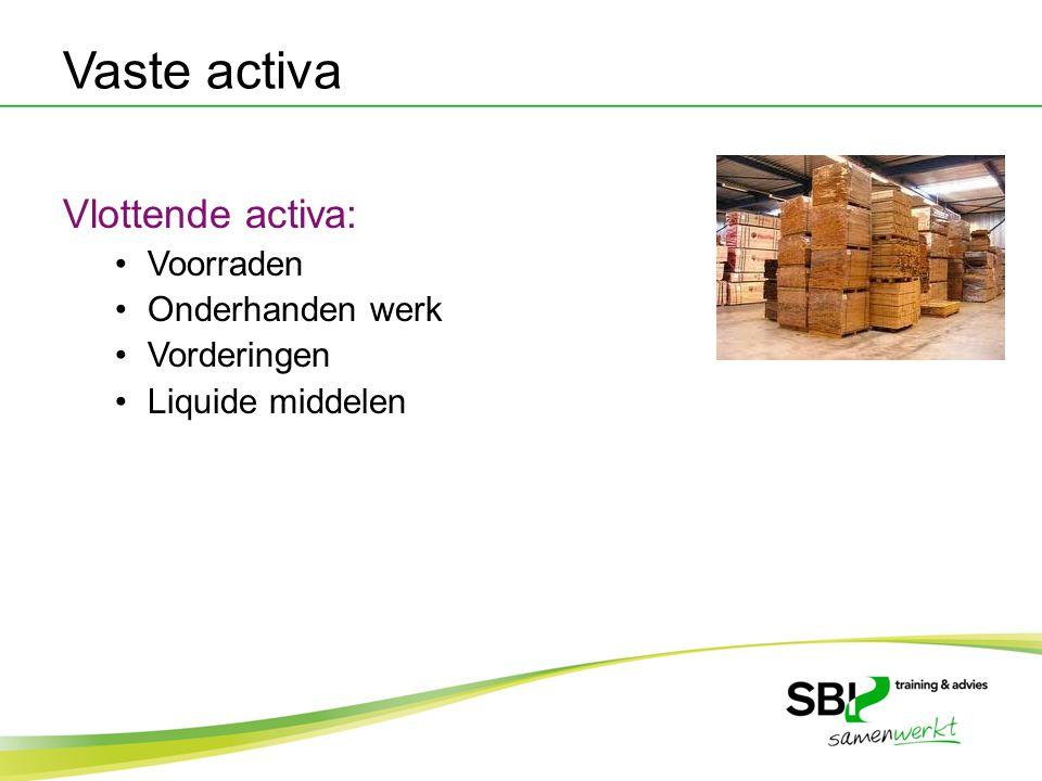 Vaste activa Vlottende activa: Voorraden Onderhanden werk Vorderingen Liquide middelen