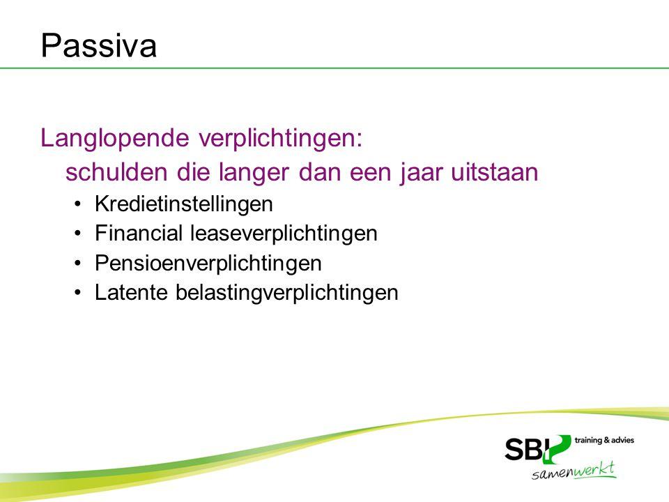 Passiva Langlopende verplichtingen: schulden die langer dan een jaar uitstaan Kredietinstellingen Financial leaseverplichtingen Pensioenverplichtingen