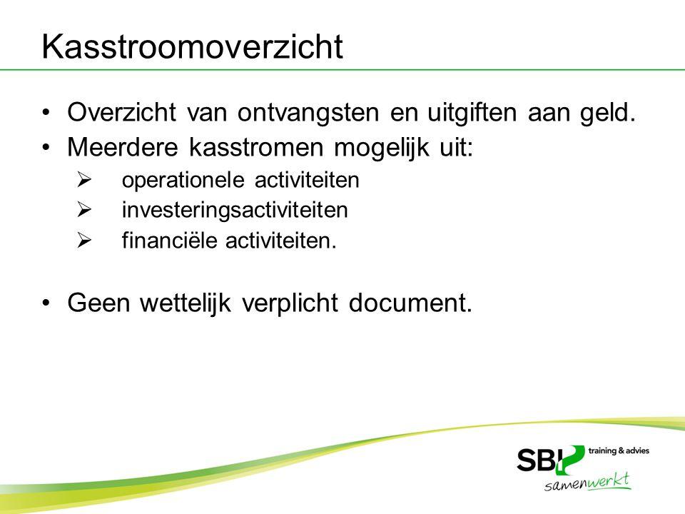 Kasstroomoverzicht Overzicht van ontvangsten en uitgiften aan geld. Meerdere kasstromen mogelijk uit:  operationele activiteiten  investeringsactivi