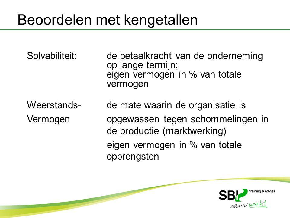 Solvabiliteit:de betaalkracht van de onderneming op lange termijn; eigen vermogen in % van totale vermogen Weerstands-de mate waarin de organisatie is