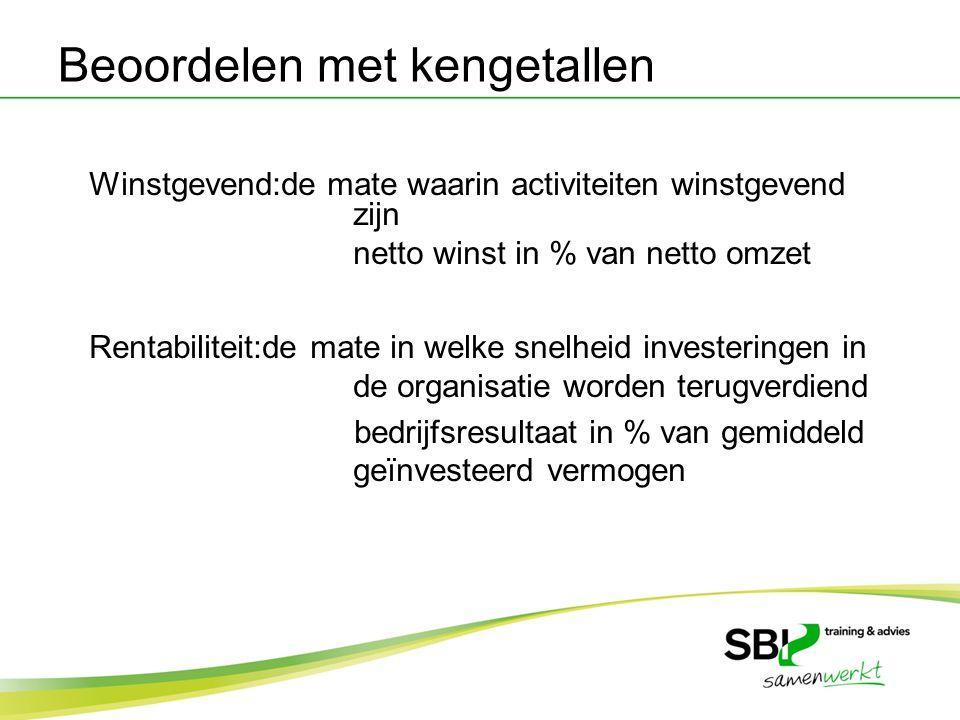 Winstgevend:de mate waarin activiteiten winstgevend zijn netto winst in % van netto omzet Rentabiliteit:de mate in welke snelheid investeringen in de