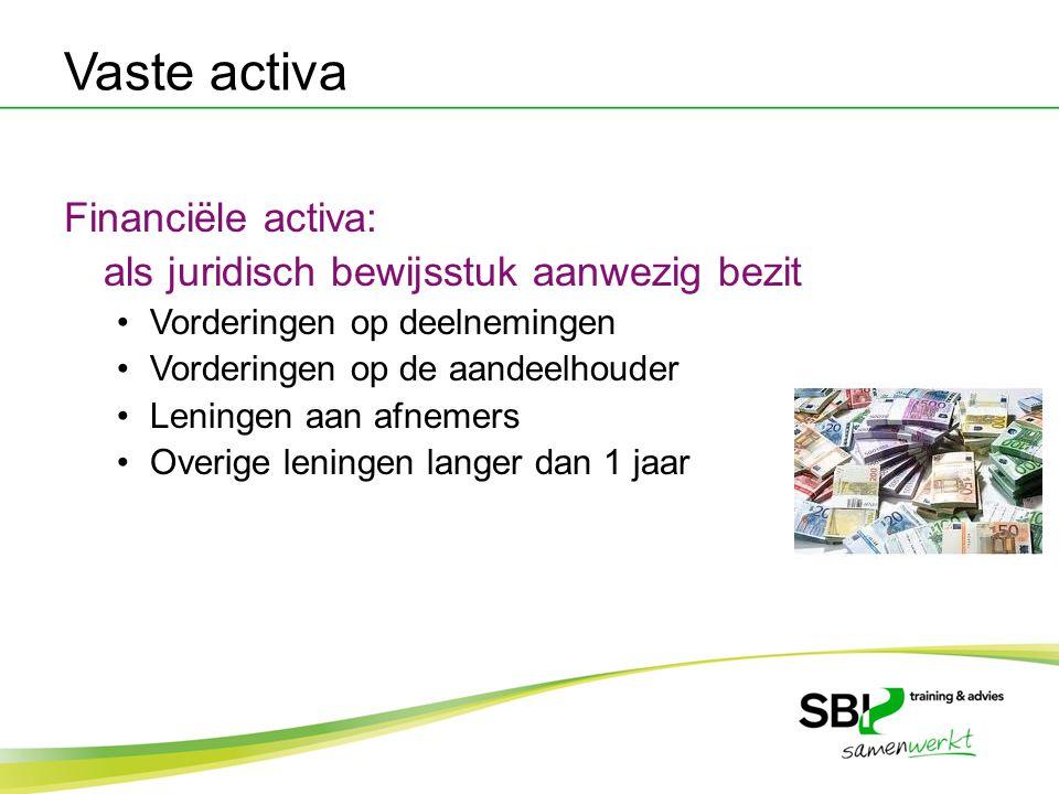 Vaste activa Financiële activa: als juridisch bewijsstuk aanwezig bezit Vorderingen op deelnemingen Vorderingen op de aandeelhouder Leningen aan afnem