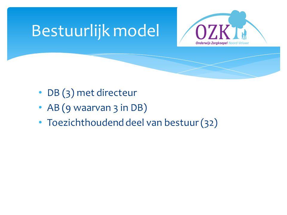 DB (3) met directeur AB (9 waarvan 3 in DB) Toezichthoudend deel van bestuur (32) Bestuurlijk model