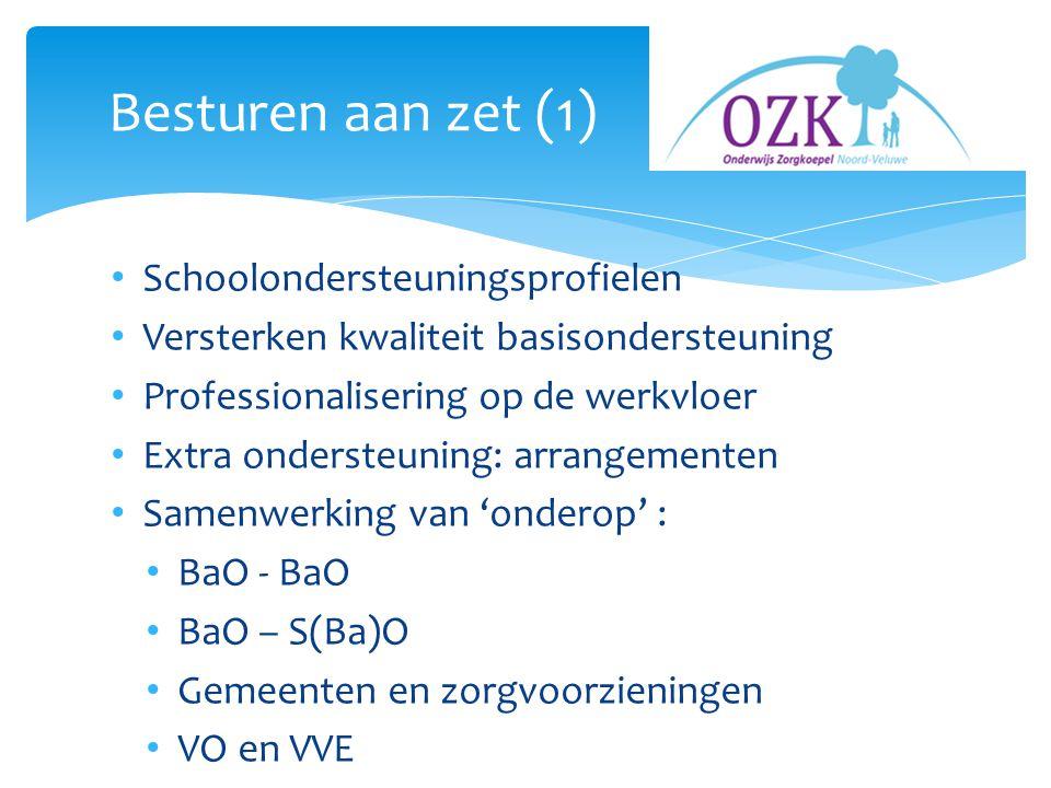 Schoolondersteuningsprofielen Versterken kwaliteit basisondersteuning Professionalisering op de werkvloer Extra ondersteuning: arrangementen Samenwerking van 'onderop' : BaO - BaO BaO – S(Ba)O Gemeenten en zorgvoorzieningen VO en VVE Besturen aan zet (1)