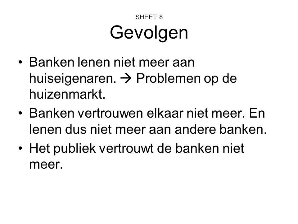 SHEET 9 Overheid grijpt in Nederlandse overheid koopt ABN/AMRO en Fortisbank Ned over.