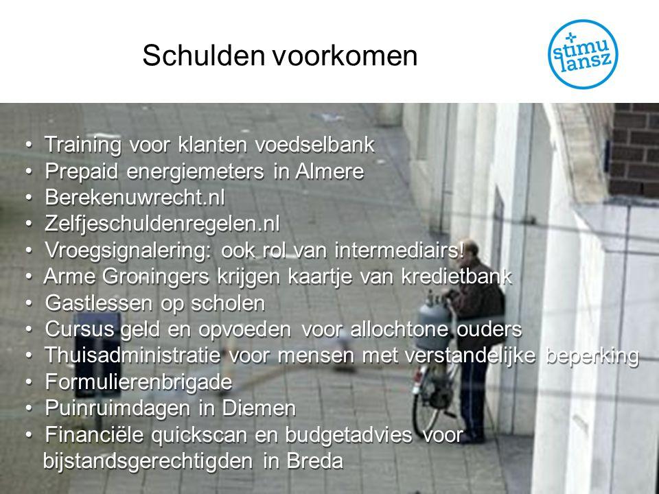 Schulden voorkomen Training voor klanten voedselbank Prepaid energiemeters in Almere Berekenuwrecht.nl Zelfjeschuldenregelen.nl Vroegsignalering: ook rol van intermediairs.