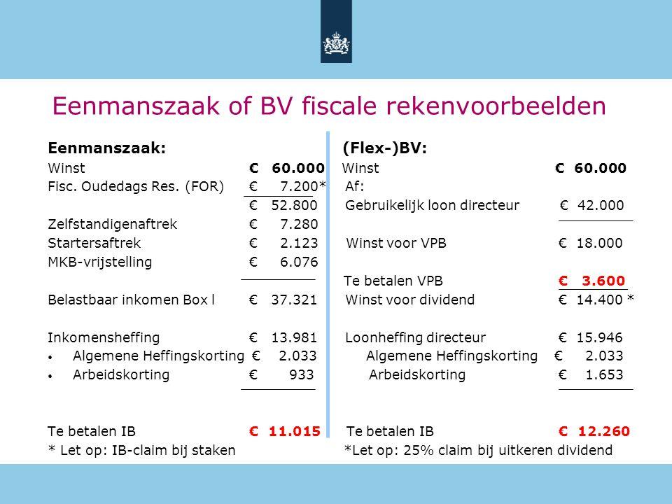 Eenmanszaak of BV fiscale rekenvoorbeelden Eenmanszaak: (Flex-)BV: Winst€ 60.000 Winst € 60.000 Fisc. Oudedags Res. (FOR) € 7.200* Af: € 52.800 Gebrui