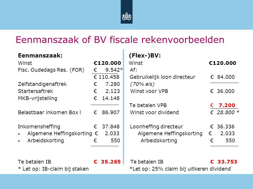 Eenmanszaak of BV fiscale rekenvoorbeelden Eenmanszaak: (Flex-)BV: Winst€120.000 Winst €120.000 Fisc. Oudedags Res. (FOR) € 9.542* Af: € 110.458 Gebru